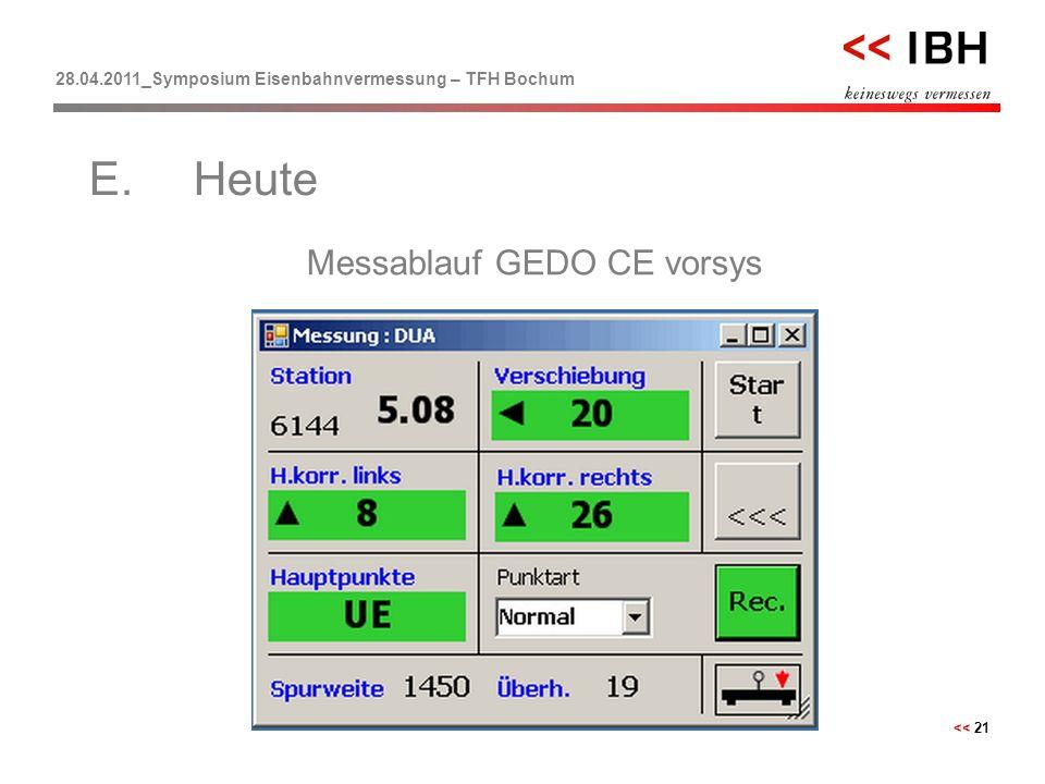 28.04.2011_Symposium Eisenbahnvermessung – TFH Bochum << 21 Messablauf GEDO CE vorsys E.Heute