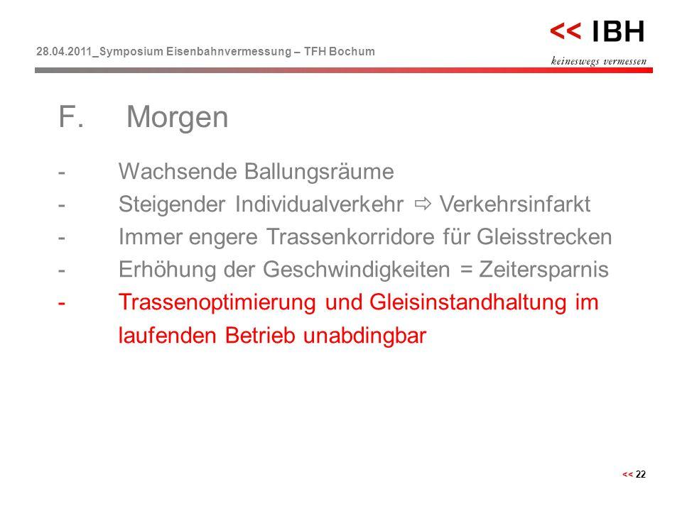 28.04.2011_Symposium Eisenbahnvermessung – TFH Bochum << 22 -Wachsende Ballungsräume -Steigender Individualverkehr  Verkehrsinfarkt -Immer engere Tra