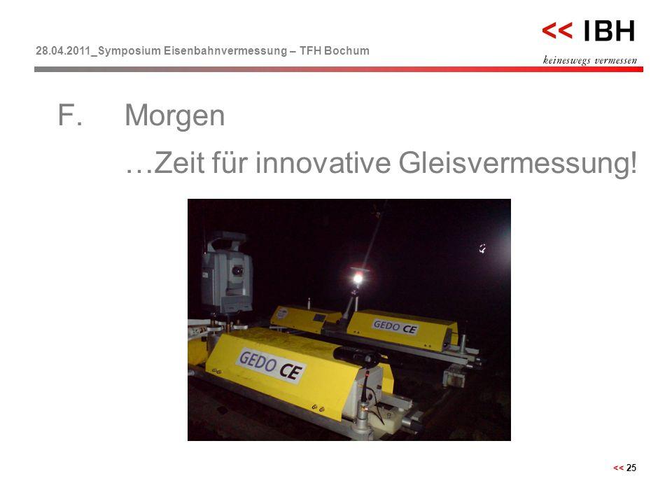 28.04.2011_Symposium Eisenbahnvermessung – TFH Bochum << 25 F.Morgen …Zeit für innovative Gleisvermessung!