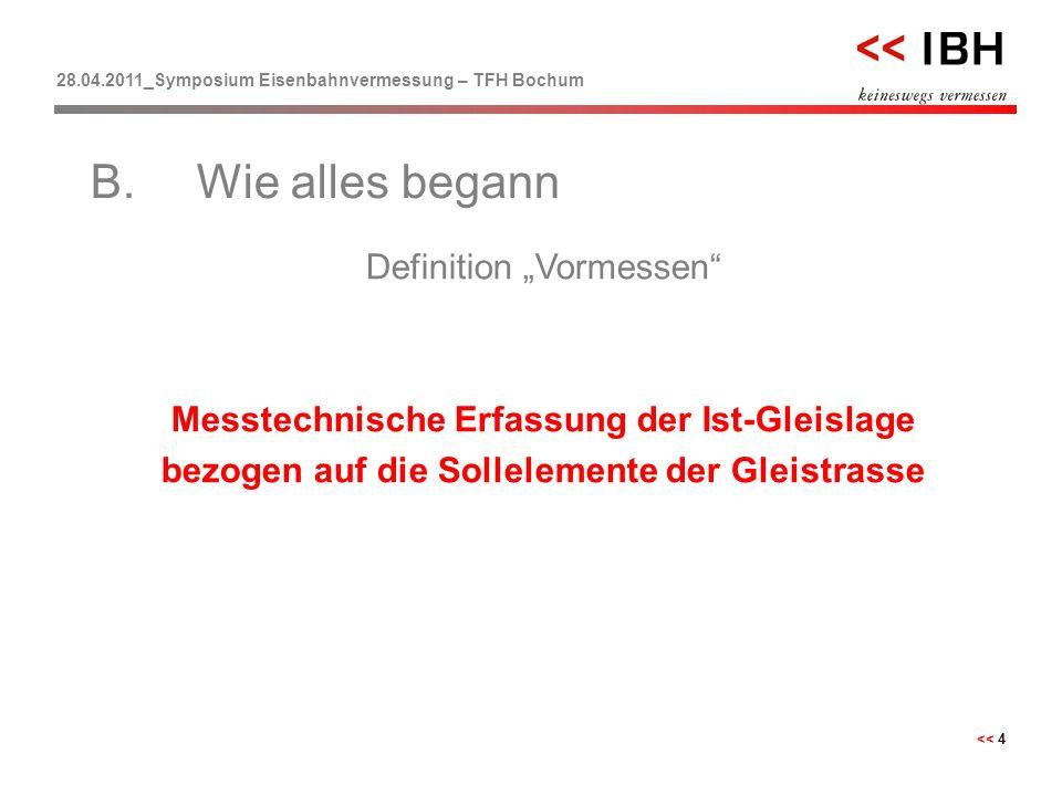 """28.04.2011_Symposium Eisenbahnvermessung – TFH Bochum << 4 Definition """"Vormessen"""" Messtechnische Erfassung der Ist-Gleislage bezogen auf die Solleleme"""