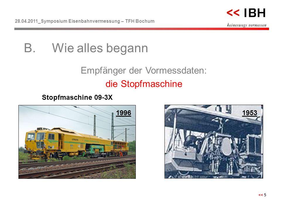 28.04.2011_Symposium Eisenbahnvermessung – TFH Bochum << 5 1953 Empfänger der Vormessdaten: die Stopfmaschine B.Wie alles begann Stopfmaschine 09-3X 1
