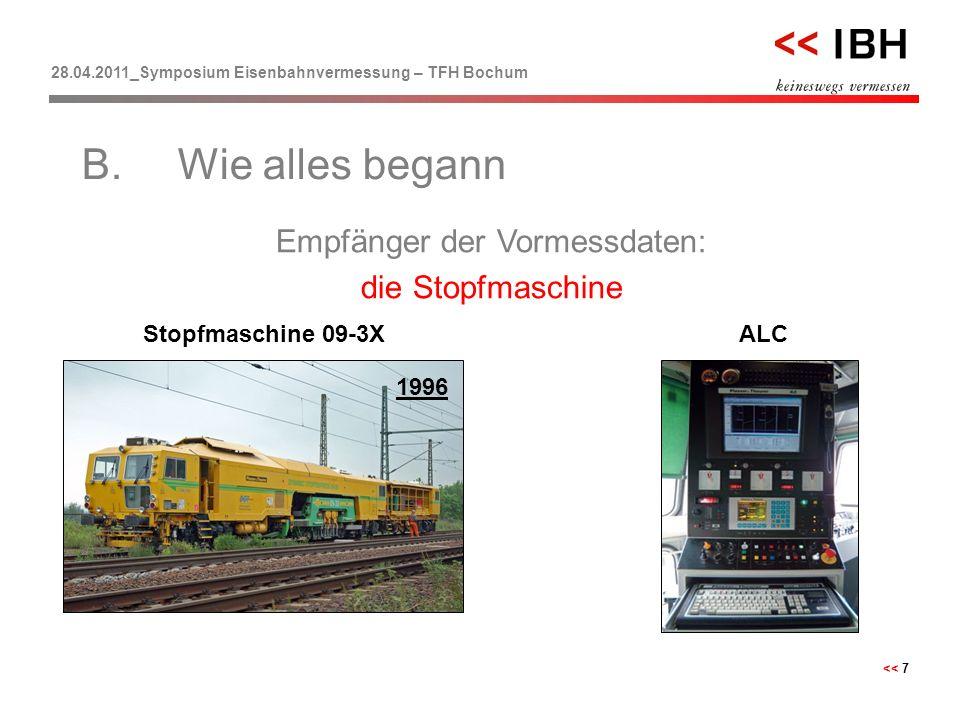 28.04.2011_Symposium Eisenbahnvermessung – TFH Bochum << 7 Empfänger der Vormessdaten: die Stopfmaschine B.Wie alles begann Stopfmaschine 09-3XALC 199
