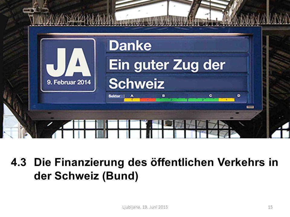 4.3Die Finanzierung des öffentlichen Verkehrs in der Schweiz (Bund) Ljubljana, 19. Juni 201515
