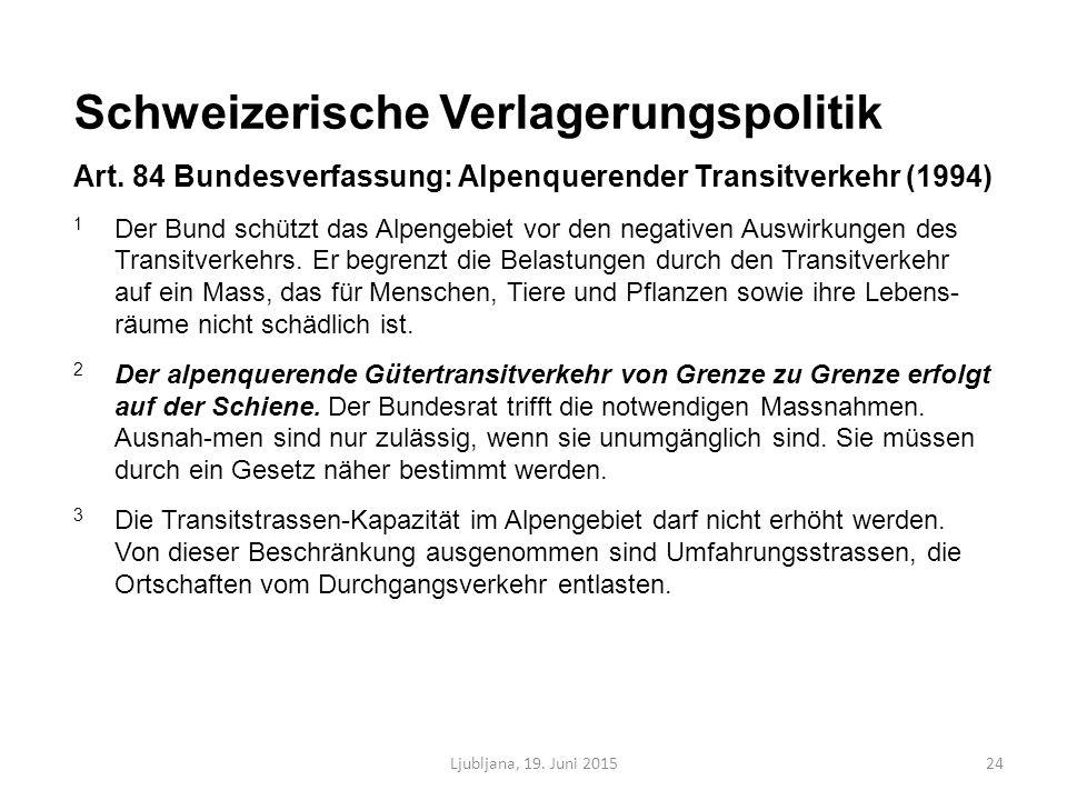 Ljubljana, 19. Juni 201524 Schweizerische Verlagerungspolitik Art.