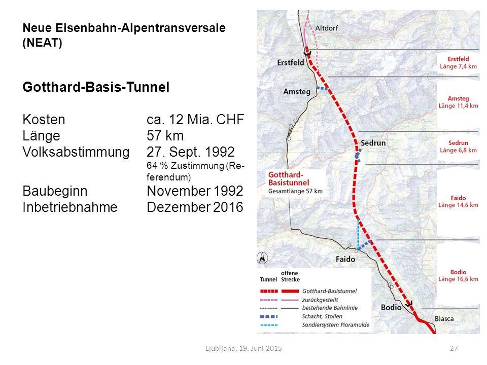 Ljubljana, 19. Juni 201527 Neue Eisenbahn-Alpentransversale (NEAT) Gotthard-Basis-Tunnel Kosten ca.