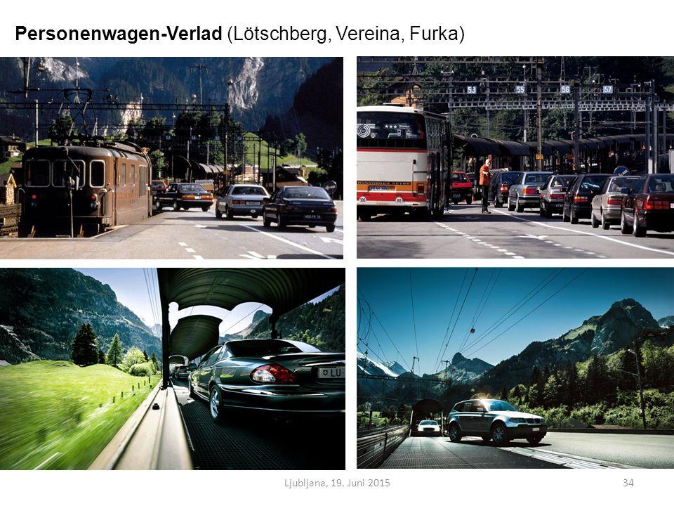 Ljubljana, 19. Juni 201534 Personenwagen-Verlad (Lötschberg, Vereina, Furka)