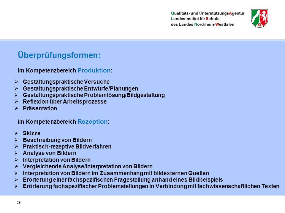 29 Überprüfungsformen: im Kompetenzbereich Produktion : im Kompetenzbereich Rezeption :  Gestaltungspraktische Versuche  Gestaltungspraktische Entwü