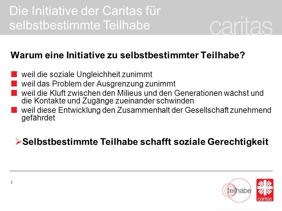 Die Initiative der Caritas für selbstbestimmte Teilhabe 14 Die praktische Umsetzung auf der Bundesebene: 1.Veröffentlichung von sozialpolitischen Positionen zur selbstbestimmten Teilhabe 2.