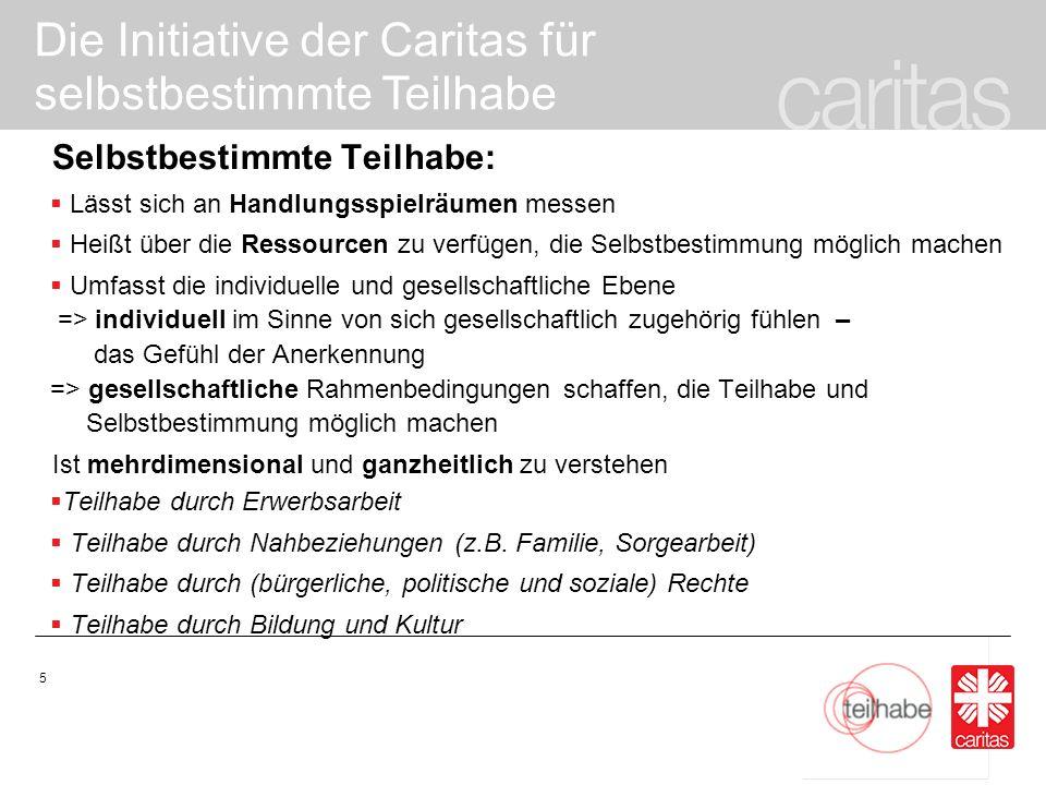 Die Initiative der Caritas für selbstbestimmte Teilhabe 6 Welche Faktoren bestimmen selbstbestimmte Teilhabe.