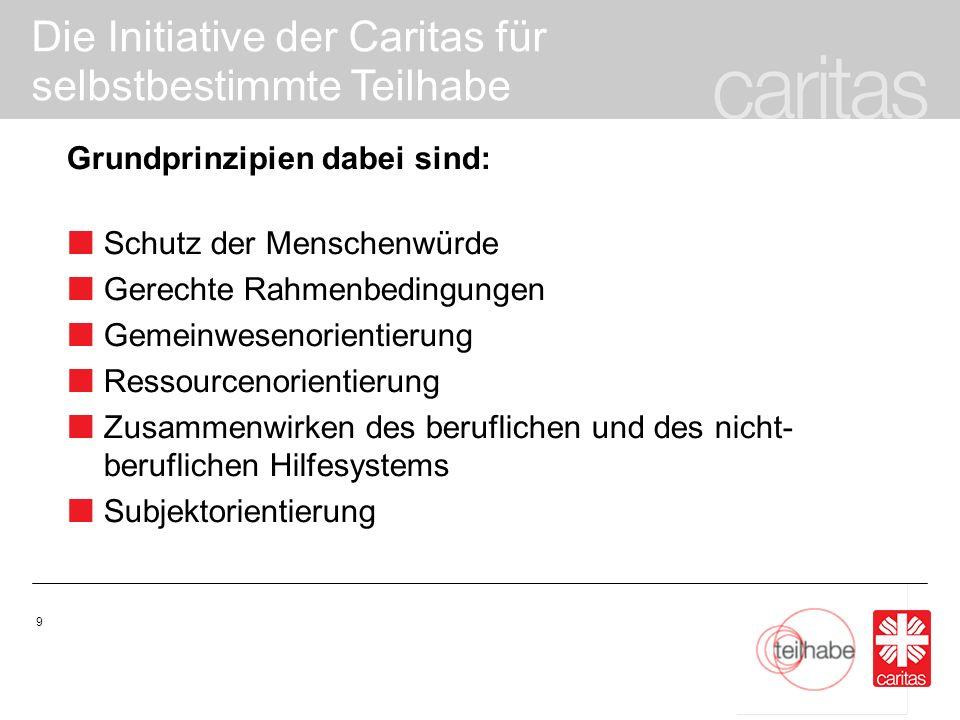 Die Initiative der Caritas für selbstbestimmte Teilhabe 20 Wie kann selbstbestimmte Teilhabe vor Ort gestärkt werden.