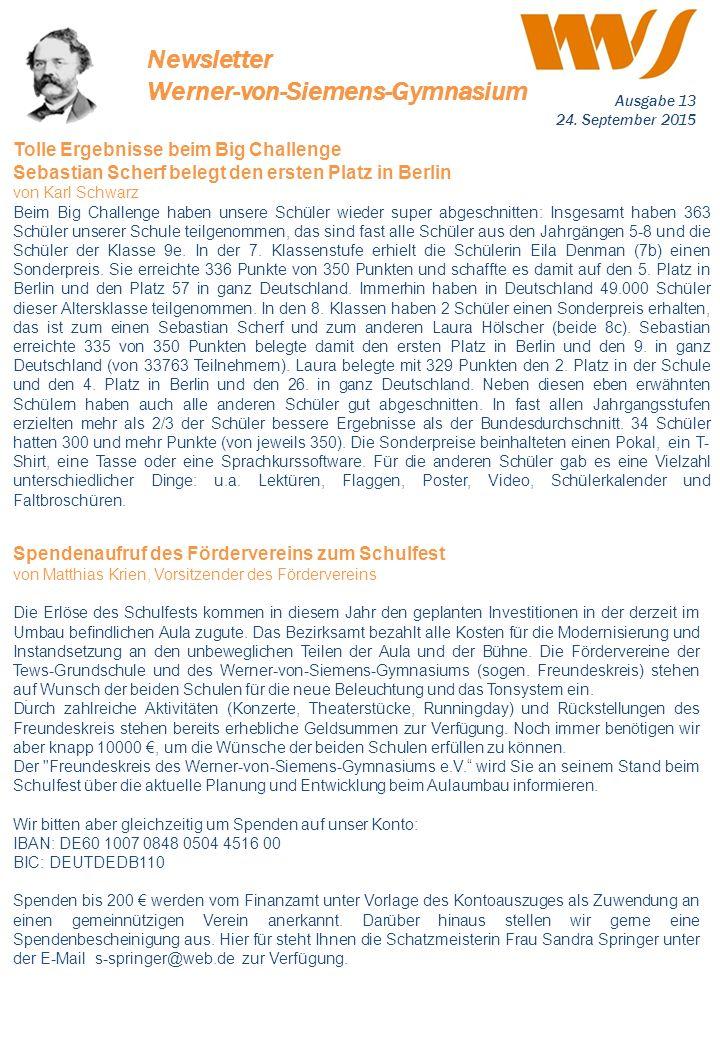 . Tolle Ergebnisse beim Big Challenge Sebastian Scherf belegt den ersten Platz in Berlin von Karl Schwarz Beim Big Challenge haben unsere Schüler wied