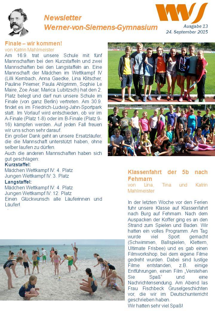 . Finale – wir kommen! von Katrin Mahlmeister Am 16.9. trat unsere Schule mit fünf Mannschaften bei den Kurzstaffeln und zwei Mannschaften bei den Lan