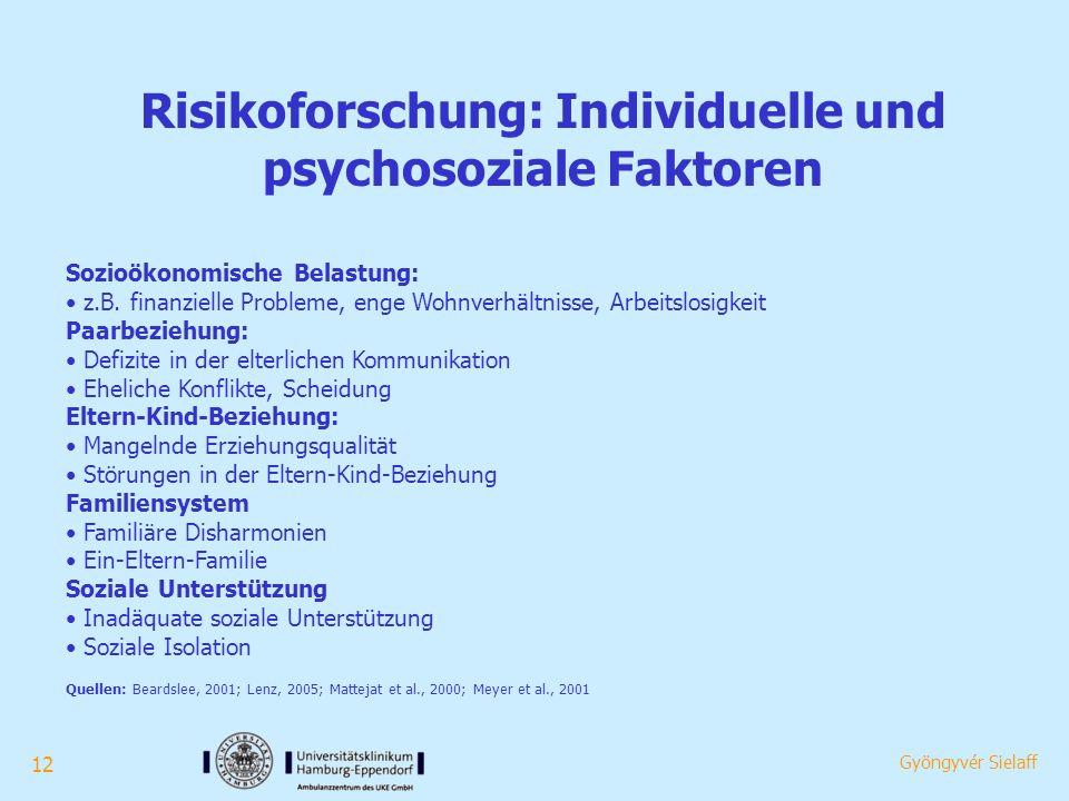 12 Gyöngyvér Sielaff Risikoforschung: Individuelle und psychosoziale Faktoren Sozioökonomische Belastung: z.B.