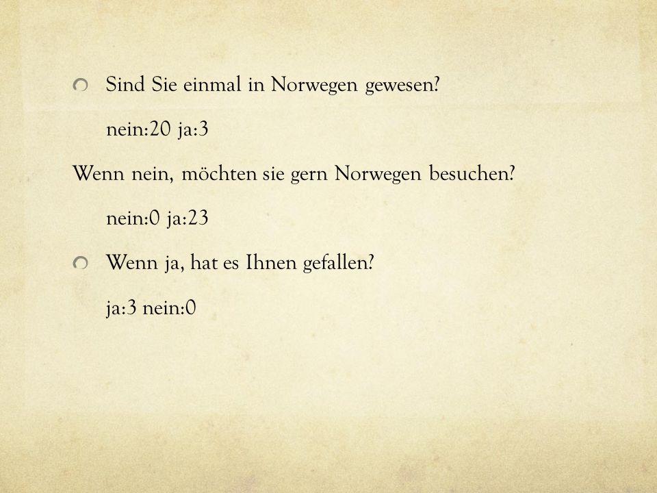 Sind Sie einmal in Norwegen gewesen. nein:20 ja:3 Wenn nein, möchten sie gern Norwegen besuchen.