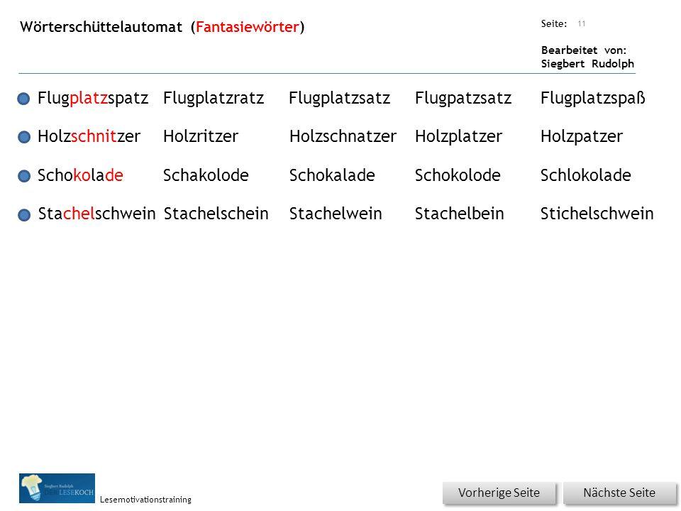 Übungsart: Seite: Bearbeitet von: Siegbert Rudolph Lesemotivationstraining Wörterschüttelautomat (Fantasiewörter) 11 FlugplatzspatzFlugplatzratzFlugpl