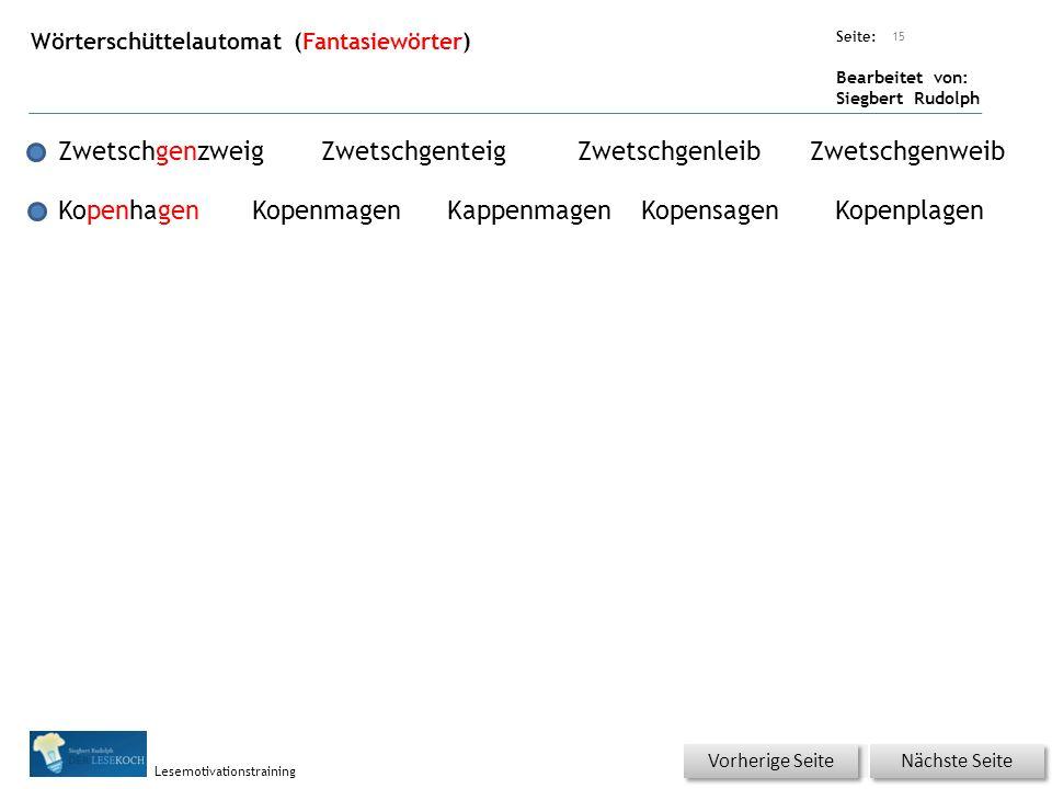 Übungsart: Seite: Bearbeitet von: Siegbert Rudolph Lesemotivationstraining Wörterschüttelautomat (Fantasiewörter) 15 ZwetschgenzweigZwetschgenteigZwet