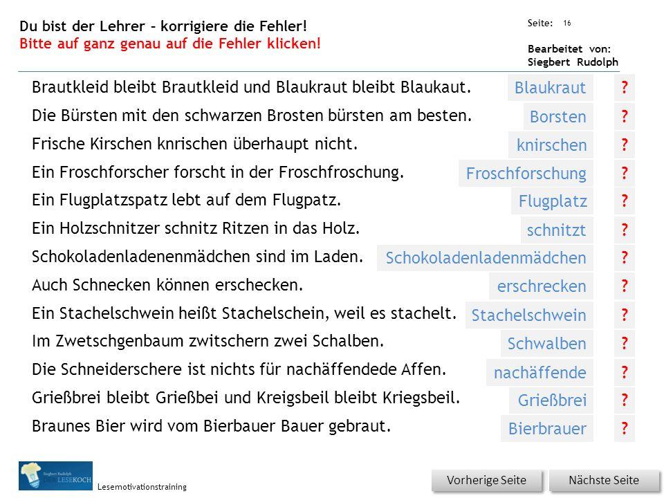 Übungsart: Seite: Bearbeitet von: Siegbert Rudolph Lesemotivationstraining 16 Du bist der Lehrer – korrigiere die Fehler.