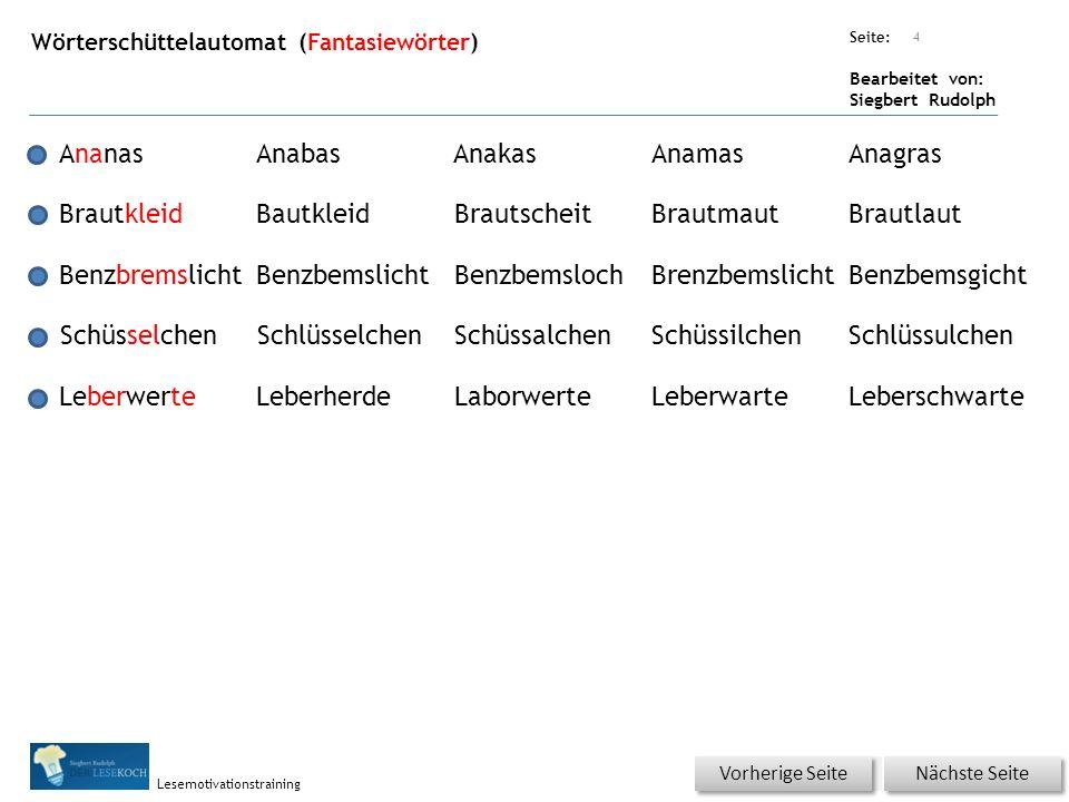 Übungsart: Seite: Bearbeitet von: Siegbert Rudolph Lesemotivationstraining Wörterschüttelautomat (Fantasiewörter) 4 AnanasAnabasAnakasAnamasAnagras Br