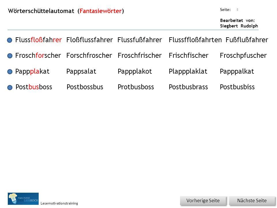 Übungsart: Seite: Bearbeitet von: Siegbert Rudolph Lesemotivationstraining Wörterschüttelautomat (Fantasiewörter) 8 FlussfloßfahrerFloßflussfahrerFlus