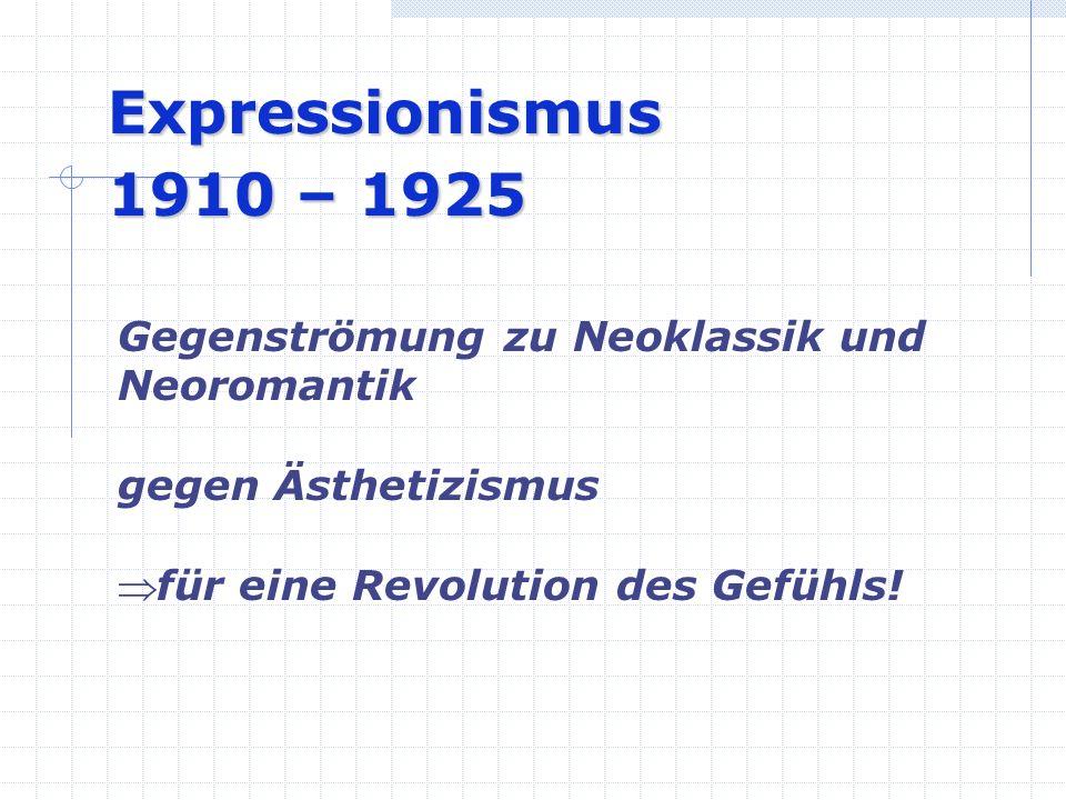 Philosophischer Hintergrund Expressionismus - Friedrich Nietzsche - Sigmund Freud (Psychoanalyse) - Albert Einstein (Relativitätstheorie) - Darwinismus - Kulturpessimismus - Antimoralismus - Dekadenz