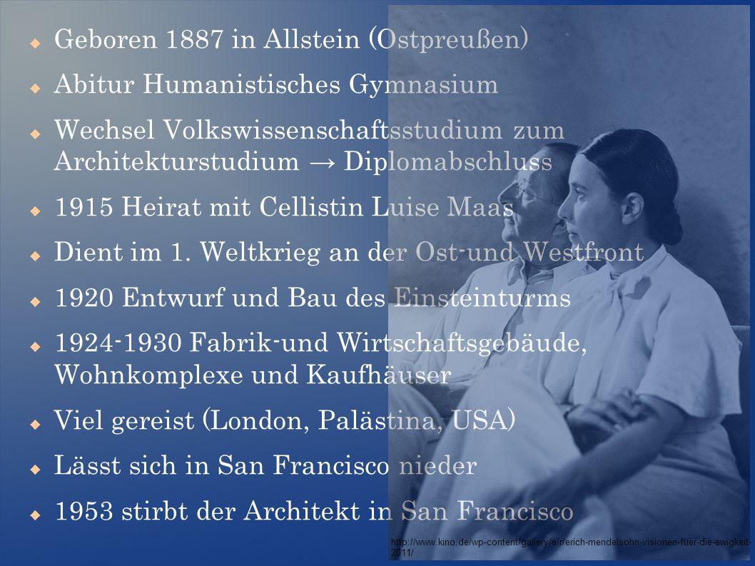  Geboren 1887 in Allstein (Ostpreußen)  Abitur Humanistisches Gymnasium  Wechsel Volkswissenschaftsstudium zum Architekturstudium → Diplomabschluss  1915 Heirat mit Cellistin Luise Maas  Dient im 1.