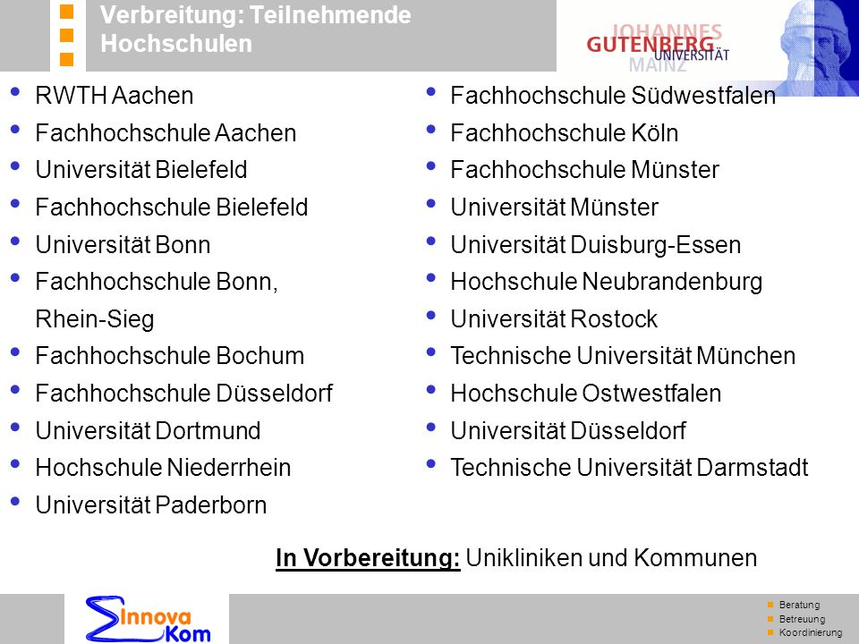 n Beratung n Betreuung n Koordinierung RWTH Aachen Fachhochschule Aachen Universität Bielefeld Fachhochschule Bielefeld Universität Bonn Fachhochschul