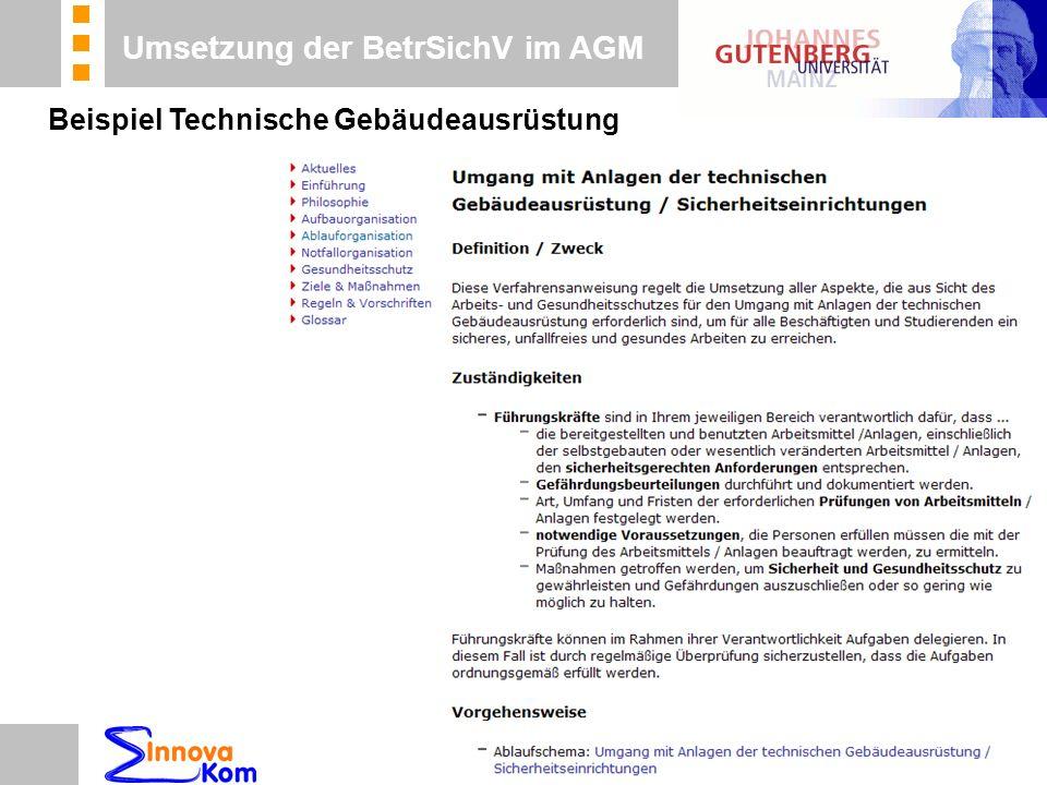 n Beratung n Betreuung n Koordinierung Umsetzung der BetrSichV im AGM Beispiel Technische Gebäudeausrüstung