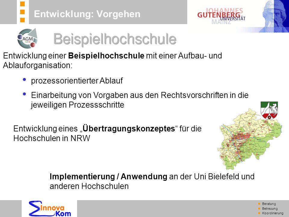 n Beratung n Betreuung n Koordinierung Entwicklung: Vorgehen Implementierung / Anwendung an der Uni Bielefeld und anderen Hochschulen Entwicklung eine