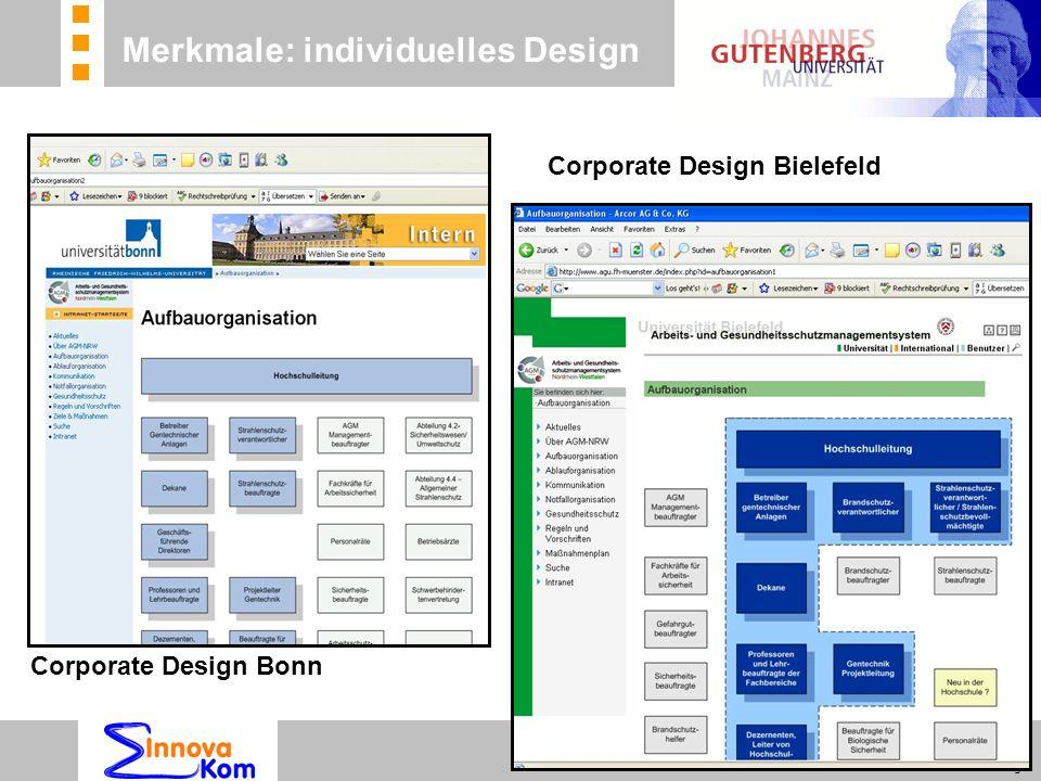 n Beratung n Betreuung n Koordinierung Corporate Design Bonn Corporate Design Bielefeld Merkmale: individuelles Design