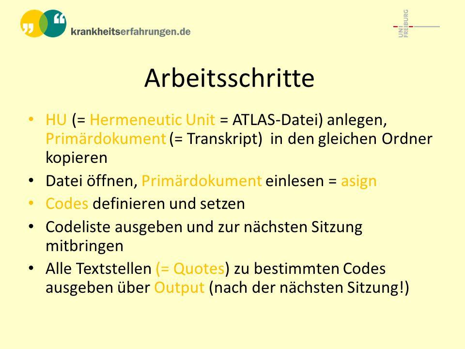 Arbeitsschritte HU (= Hermeneutic Unit = ATLAS-Datei) anlegen, Primärdokument (= Transkript) in den gleichen Ordner kopieren Datei öffnen, Primärdokum