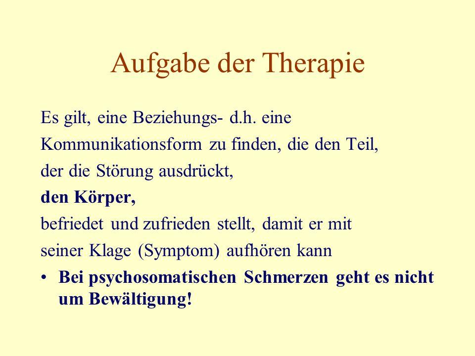 Aufgabe der Therapie Es gilt, eine Beziehungs- d.h.