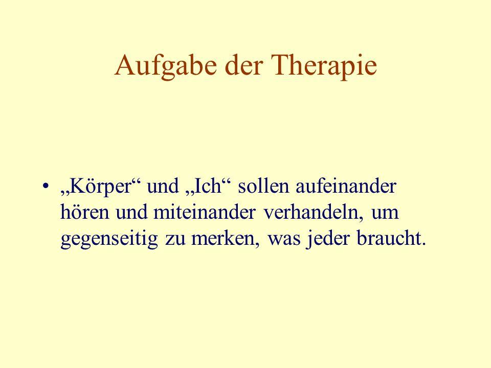 """Aufgabe der Therapie """"Körper und """"Ich sollen aufeinander hören und miteinander verhandeln, um gegenseitig zu merken, was jeder braucht."""