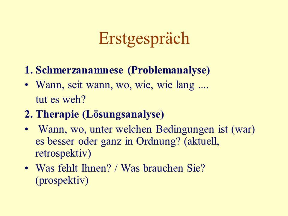 Erstgespräch 1. Schmerzanamnese (Problemanalyse) Wann, seit wann, wo, wie, wie lang....