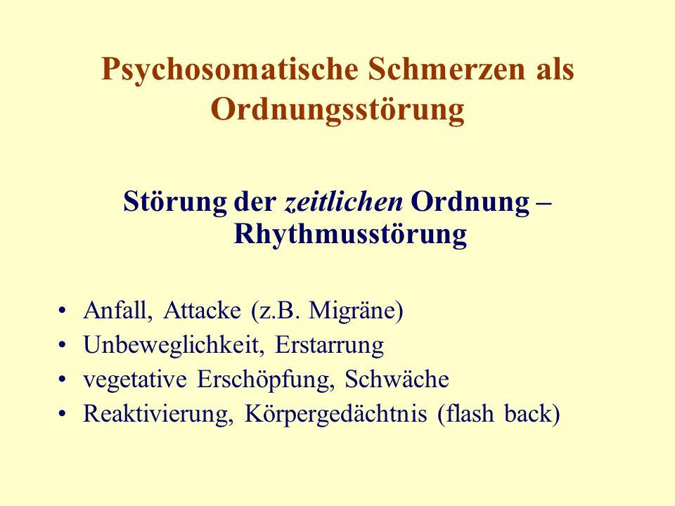 Psychosomatische Schmerzen als Ordnungsstörung Störung der zeitlichen Ordnung – Rhythmusstörung Anfall, Attacke (z.B.