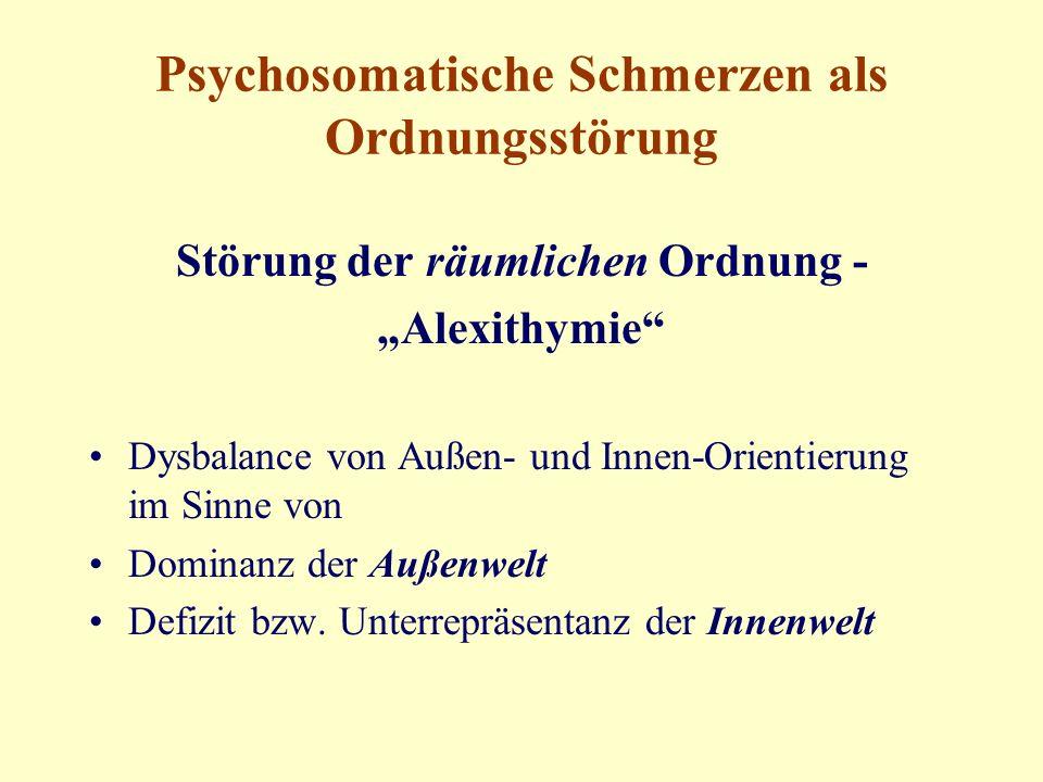 """Psychosomatische Schmerzen als Ordnungsstörung Störung der räumlichen Ordnung - """"Alexithymie Dysbalance von Außen- und Innen-Orientierung im Sinne von Dominanz der Außenwelt Defizit bzw."""