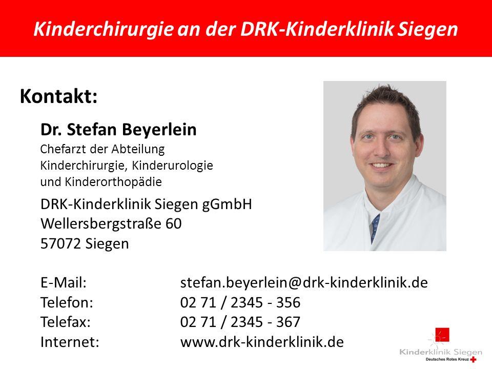 Kinderchirurgie an der DRK-Kinderklinik Siegen Kontakt: Dr.