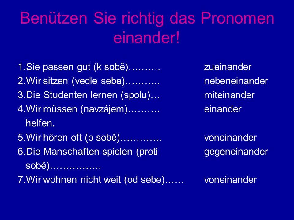 Benützen Sie richtig das Pronomen einander. 1.Sie passen gut (k sobě)……….