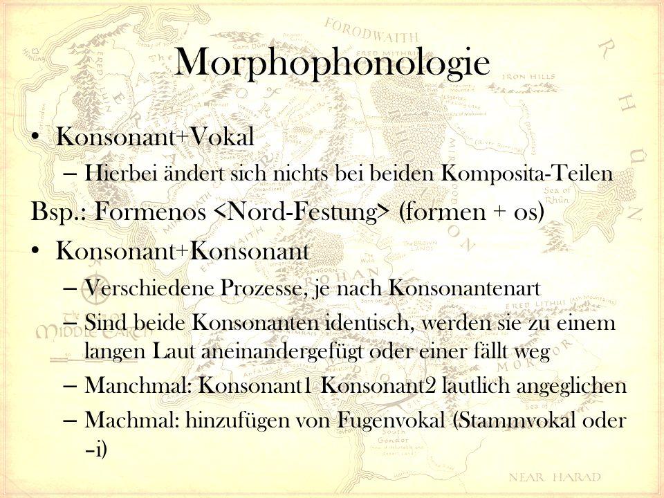 Morphophonologie Konsonant+Vokal – Hierbei ändert sich nichts bei beiden Komposita-Teilen Bsp.: Formenos (formen + os) Konsonant+Konsonant – Verschiedene Prozesse, je nach Konsonantenart – Sind beide Konsonanten identisch, werden sie zu einem langen Laut aneinandergefügt oder einer fällt weg – Manchmal: Konsonant1 Konsonant2 lautlich angeglichen – Machmal: hinzufügen von Fugenvokal (Stammvokal oder –i)