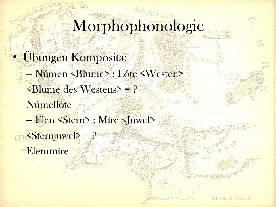 Morphophonologie Übungen Komposita: – Númen ; Lóte = Númellóte – Elen ; Míre = Elemmíre