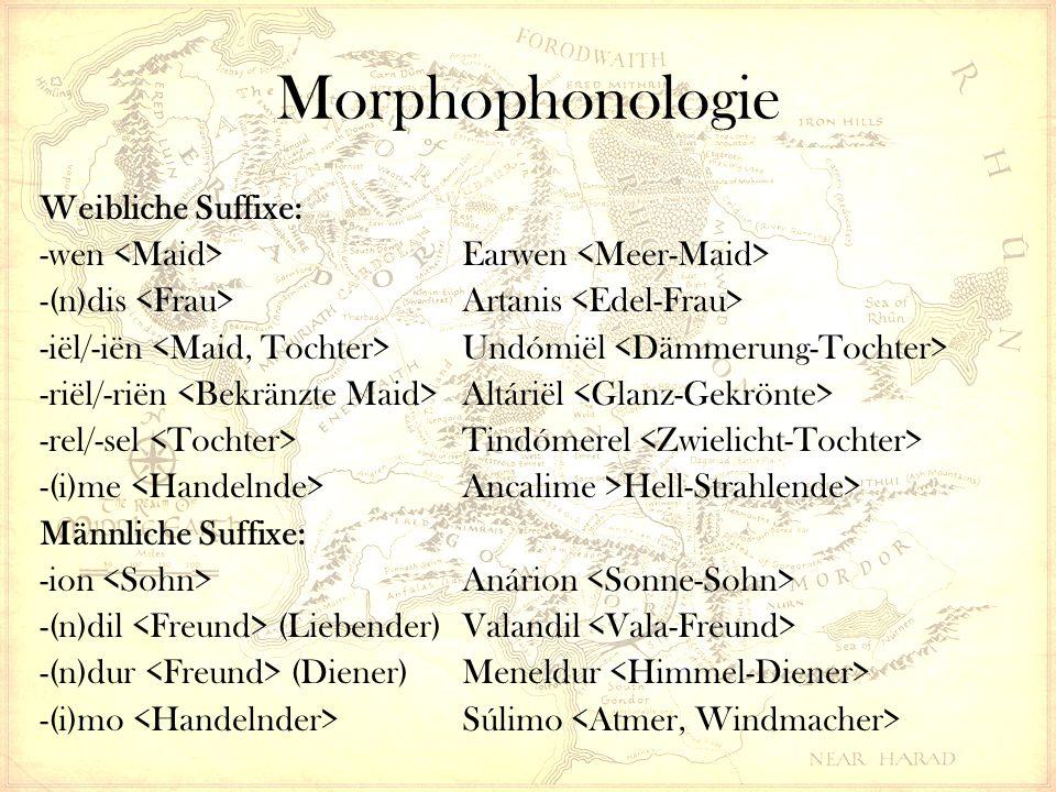 Morphophonologie Weibliche Suffixe: -wen Earwen -(n)dis Artanis -iël/-iën Undómiël -riël/-riën Altáriël -rel/-sel Tindómerel -(i)me Ancalime >Hell-Strahlende> Männliche Suffixe: -ion Anárion -(n)dil (Liebender)Valandil -(n)dur (Diener)Meneldur -(i)mo Súlimo