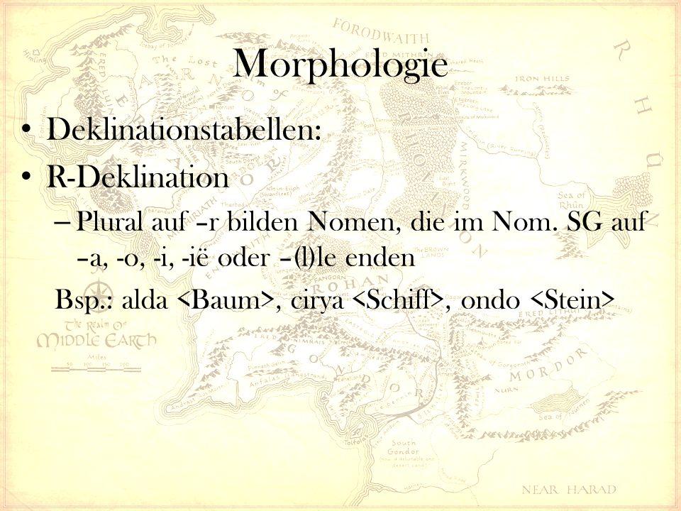Morphologie Deklinationstabellen: R-Deklination – Plural auf –r bilden Nomen, die im Nom. SG auf –a, -o, -i, -ië oder –(l)le enden Bsp.: alda, cirya,