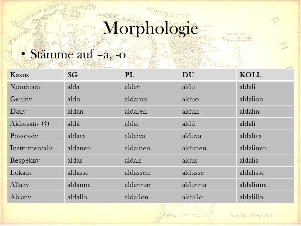 Morphologie KasusSGPLDUKOLL Nominativaldaaldaraldualdali Genitivaldoaldaronalduoaldalion Dativaldanaldarenaldunaldalin Akkusativ (†)aldáaldaialdúaldal