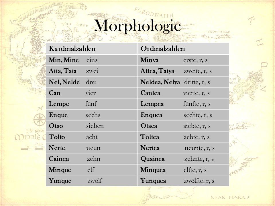Morphologie KardinalzahlenOrdinalzahlen Min, Mine einsMinya erste, r, s Atta, Tata zweiAttea, Tatya zweite, r, s Nel, Nelde dreiNeldea, Nelya dritte,