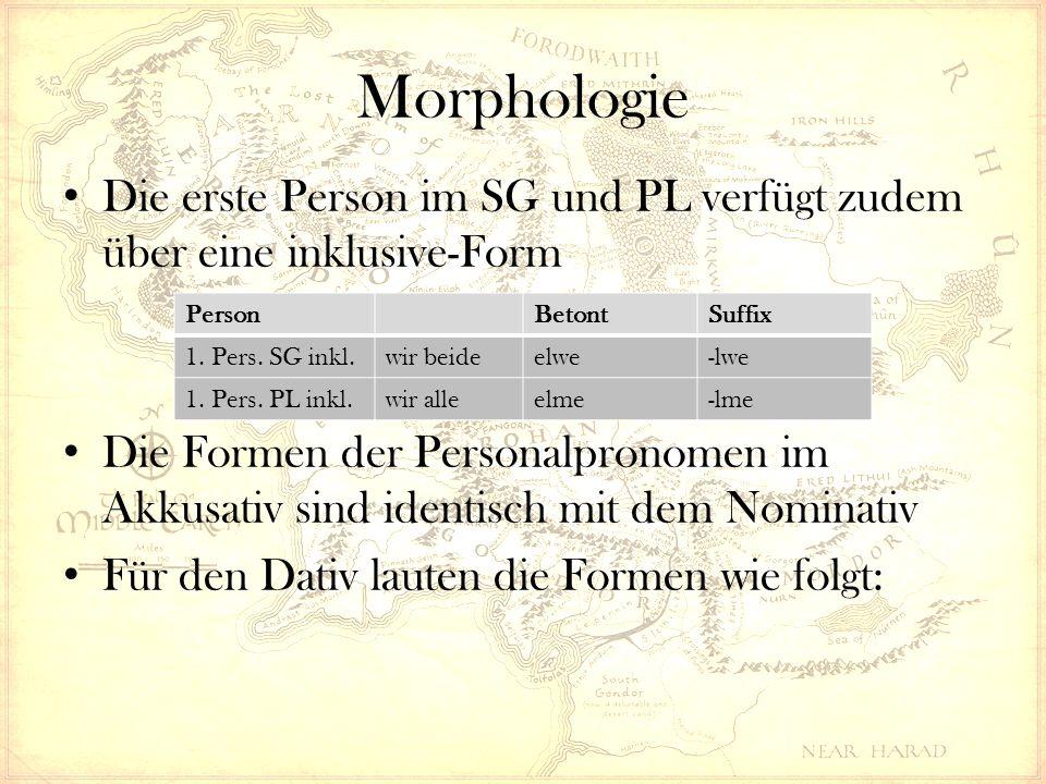 Morphologie Die erste Person im SG und PL verfügt zudem über eine inklusive-Form Die Formen der Personalpronomen im Akkusativ sind identisch mit dem Nominativ Für den Dativ lauten die Formen wie folgt: PersonBetontSuffix 1.