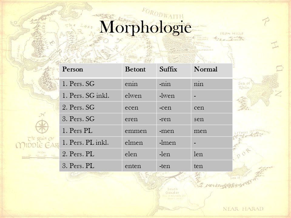 Morphologie PersonBetontSuffixNormal 1. Pers. SGenin-ninnin 1. Pers. SG inkl.elwen-lwen- 2. Pers. SGecen-cencen 3. Pers. SGeren-rensen 1. Pers PLemmen