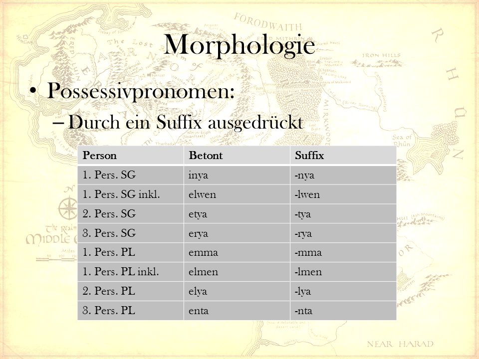 Morphologie Possessivpronomen: – Durch ein Suffix ausgedrückt PersonBetontSuffix 1. Pers. SGinya-nya 1. Pers. SG inkl.elwen-lwen 2. Pers. SGetya-tya 3