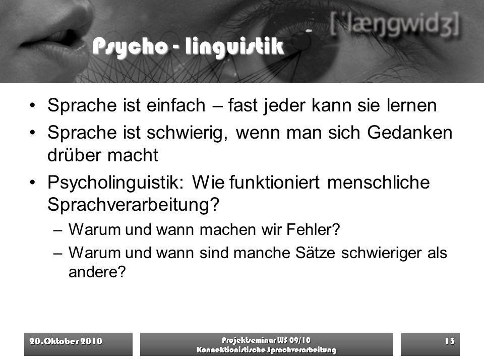 Psycho - linguistik Sprache ist einfach – fast jeder kann sie lernen Sprache ist schwierig, wenn man sich Gedanken drüber macht Psycholinguistik: Wie