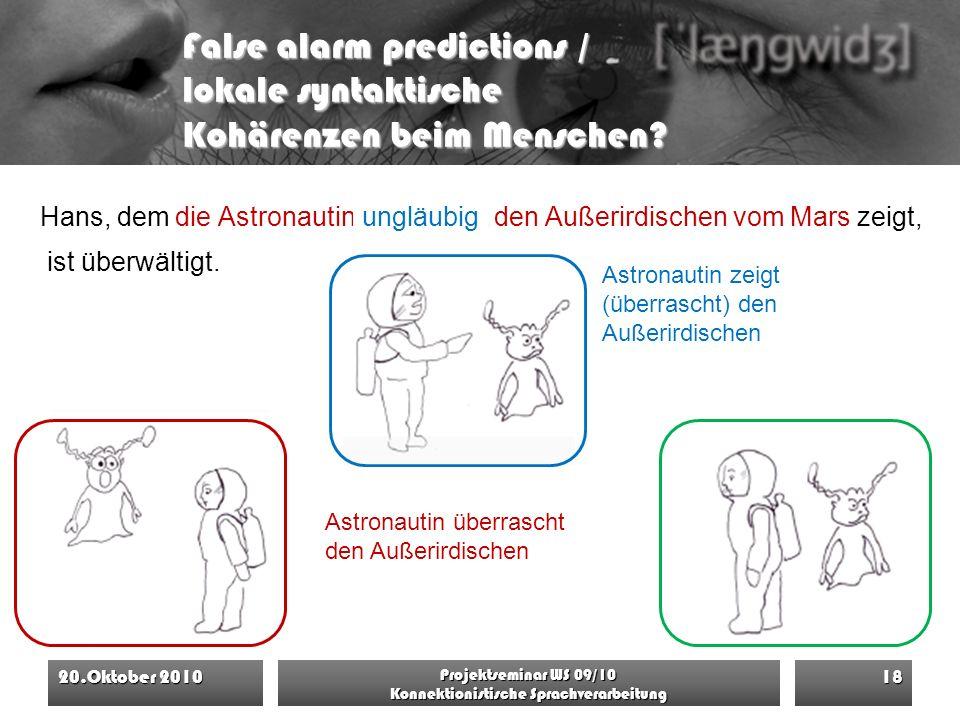 False alarm predictions / lokale syntaktische Kohärenzen beim Menschen? die Astronautin überrascht den Außerirdischen vom Mars 20.Oktober 2010 Projekt