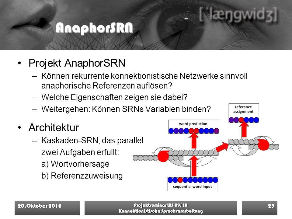 AnaphorSRN Projekt AnaphorSRN –Können rekurrente konnektionistische Netzwerke sinnvoll anaphorische Referenzen auflösen? –Welche Eigenschaften zeigen