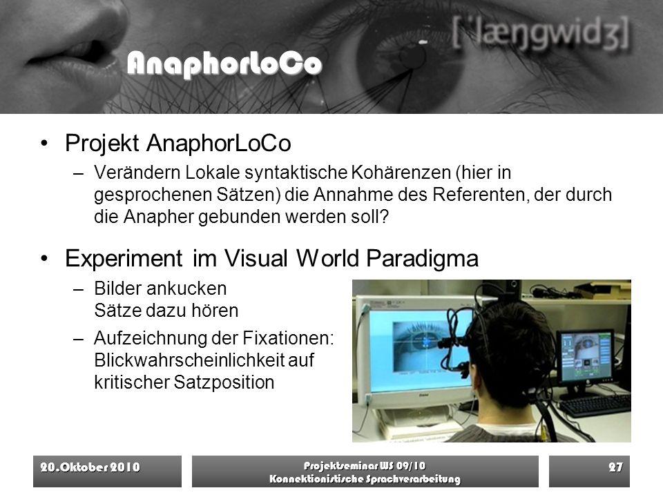 AnaphorLoCo Projekt AnaphorLoCo –Verändern Lokale syntaktische Kohärenzen (hier in gesprochenen Sätzen) die Annahme des Referenten, der durch die Anap
